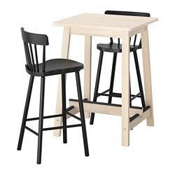 NORRÅKER /  NORRARYD bar table and 2 bar stools, white birch, black