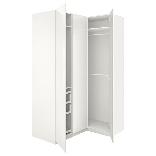 pax armoire d 39 angle blanc fardal brillant blanc ikea. Black Bedroom Furniture Sets. Home Design Ideas