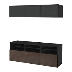 BESTÅ TV storage combination/glass doors, black-brown, Selsviken high-gloss/brown smoked glass