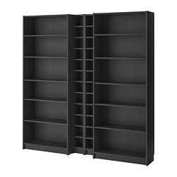 BILLY / GNEDBY bookcase, black-brown