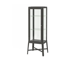 FABRIKÖR glass-door cabinet, dark grey
