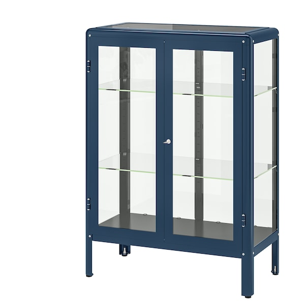 fabrikÖr glass-door cabinet, black-blue blue