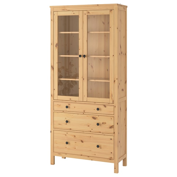 hemnes vitrine mit 3 schubladen hellbraun ikea. Black Bedroom Furniture Sets. Home Design Ideas