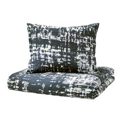SKOGSLÖNN quilt cover and pillowcase, black, multicolour