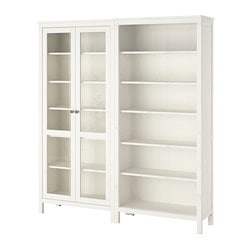 HEMNES storage combination w glass doors, white stain