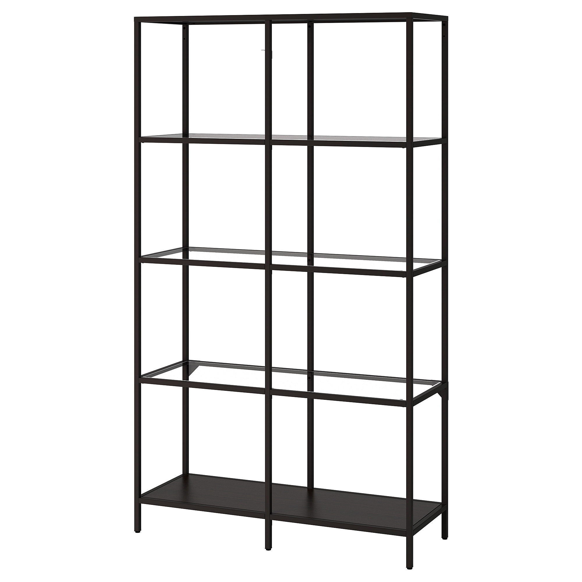 vittsjÖ shelf unit - black-brown/glass - ikea