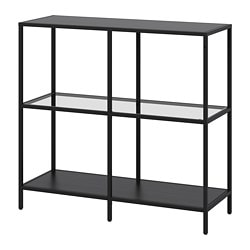 VITTSJÖ shelving unit, black-brown, glass