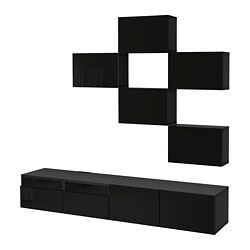 BESTÅ TV storage combination, black-brown, Selsviken high-gloss/black