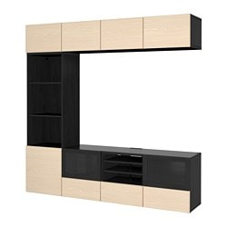 BESTÅ TV storage combination/glass doors, black-brown, Inviken ash veneer