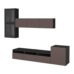 BESTÅ TV storage combination/glass doors, black-brown, Valviken dark brown clear glass