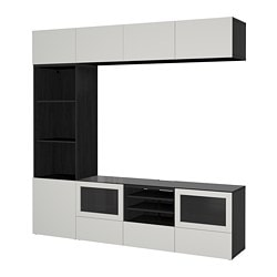 BESTÅ TV storage combination/glass doors, black-brown Lappviken, light grey clear glass