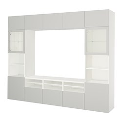 BESTÅ TV storage combination/glass doors, white, Lappviken light grey clear glass