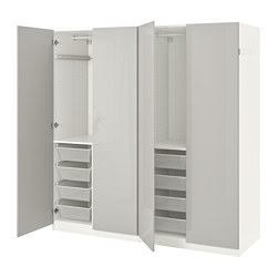 PAX wardrobe, white, Fardal high-gloss light gray