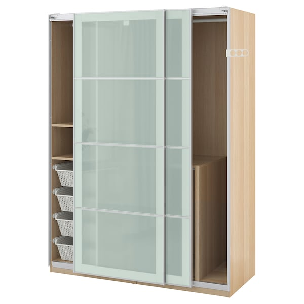 reputable site 0e232 266ba Wardrobe PAX white stained oak effect, Sekken frosted glass