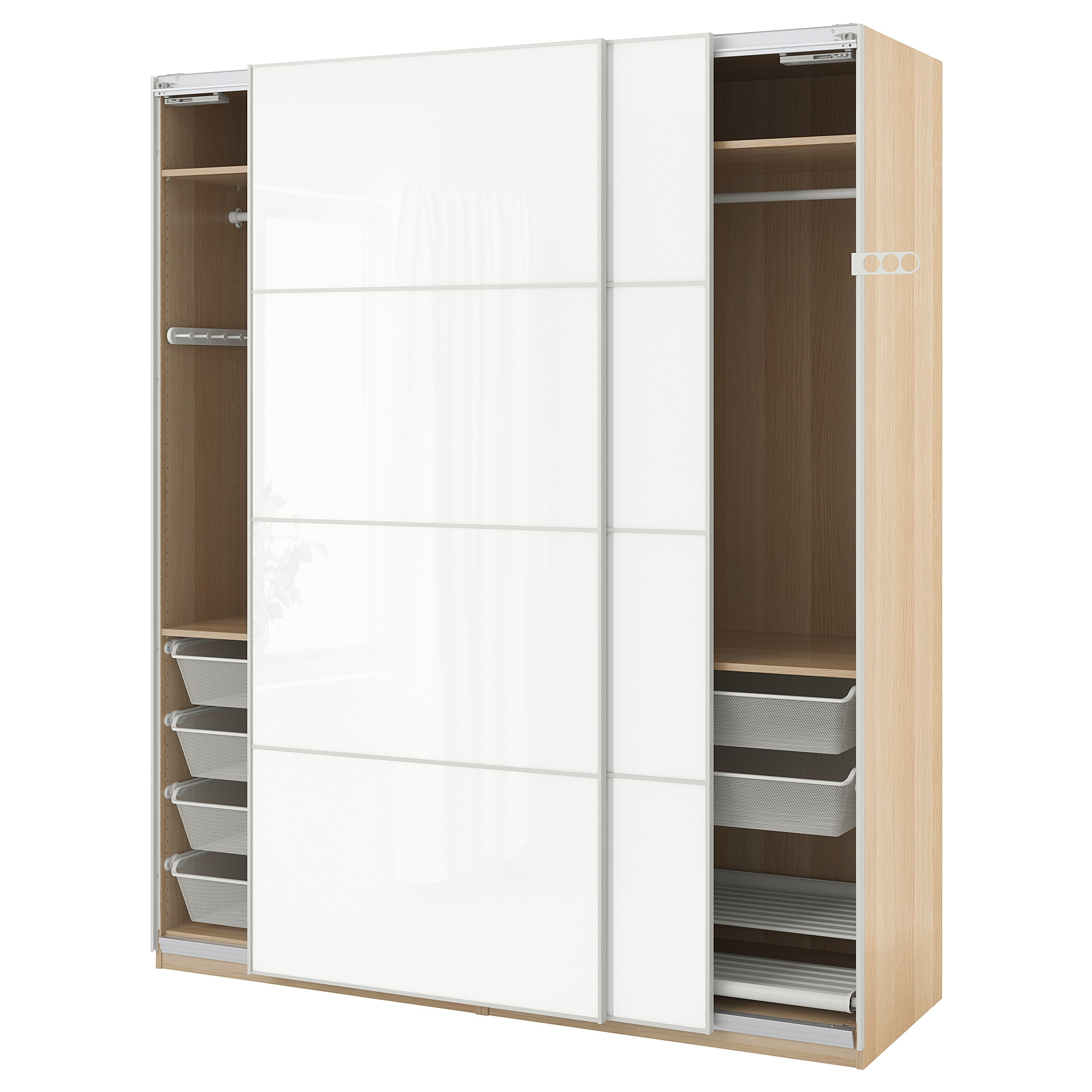 Armadio Ikea Pax 4 Ante.Pax Wardrobe White Stained Oak Effect Farvik White Glass Ikea