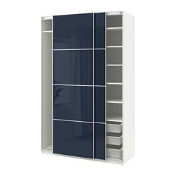PAX wardrobe, white Hokksund, high gloss dark blue black-blue