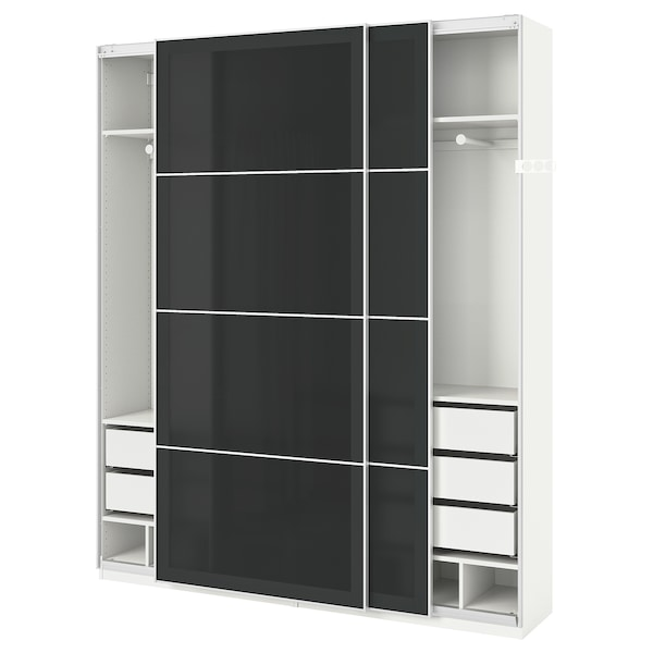 pax kleiderschrank wei uggdal graues glas ikea. Black Bedroom Furniture Sets. Home Design Ideas