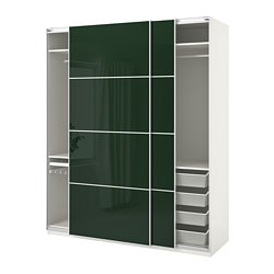 PAX wardrobe, white Hokksund, high gloss Hokksund dark green