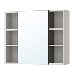 LILLÅNGEN mirror cabinet 1 door/2 end units, black-brown, grey