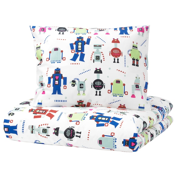 lattjo housse de couette et taie petits robots. Black Bedroom Furniture Sets. Home Design Ideas