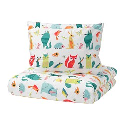 LATTJO duvet cover and pillowcase(s), animal, multicolor