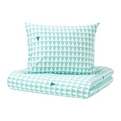 STILLSAMT duvet cover and pillowcase(s), light turquoise