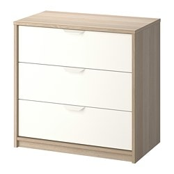 ASKVOLL chest of 3 drawers, white stained oak effect, white