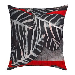 ANNANSTANS cushion cover, handmade blue, black/red