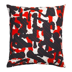 ANNANSTANS cushion cover, handmade green, black/red