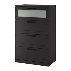 BRIMNES 4-drawer dresser, black, frosted glass