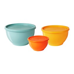 SOMMAR 2019 bowl with lid, set of 3, mixed colors