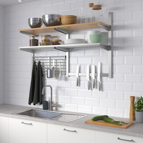 Wall Storage With Grid Knife Rack Kungsfors Stainless Steel Ash Veneer