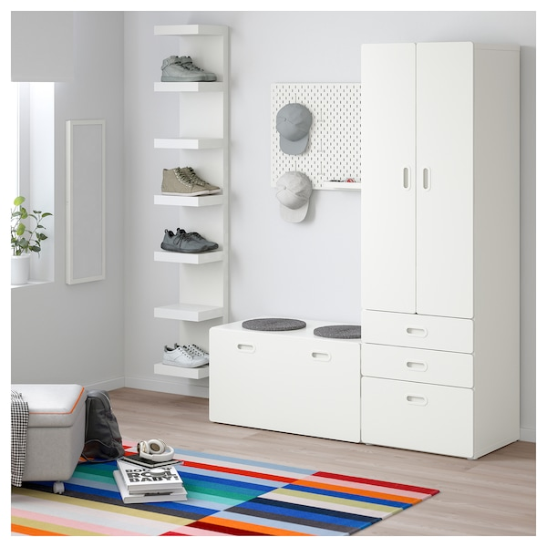 stuva fritids schrank mit banktruhe wei wei ikea. Black Bedroom Furniture Sets. Home Design Ideas