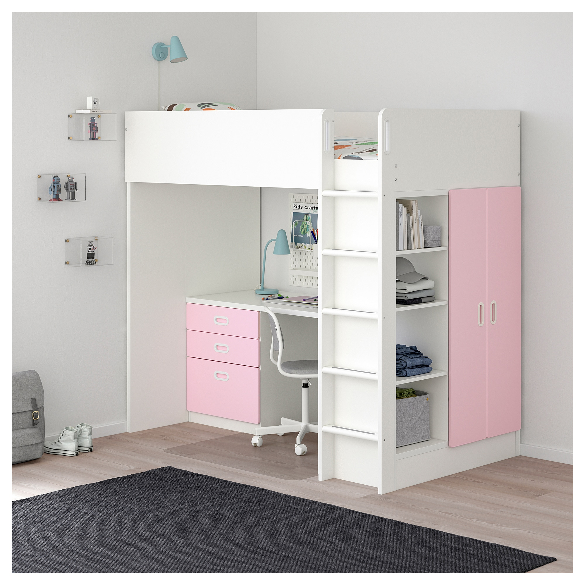 Stuva Fritids Loft Bed With 3 Drawers 2 Doors White