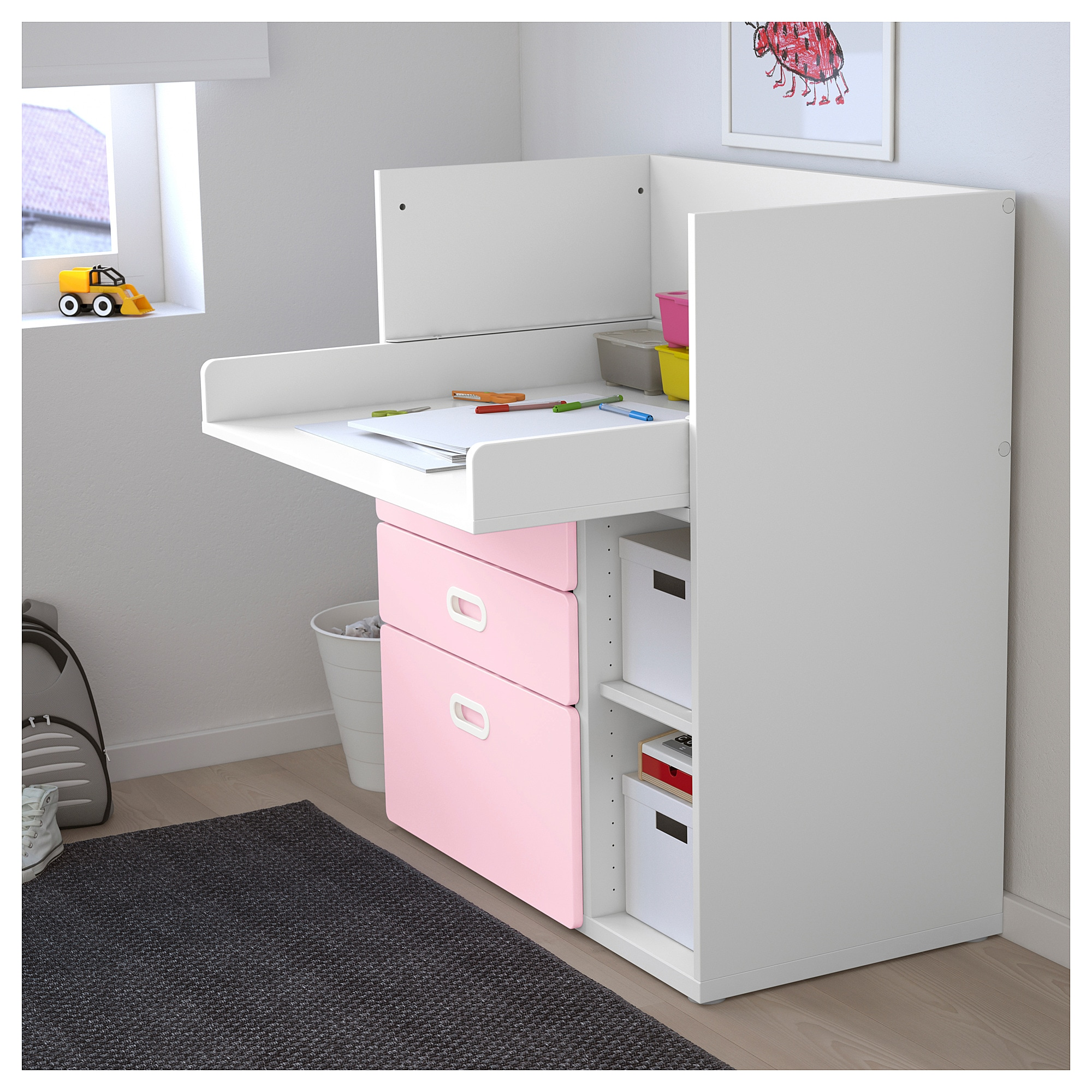 Stuva Fritids Changing Table With Drawers White Red Ikea