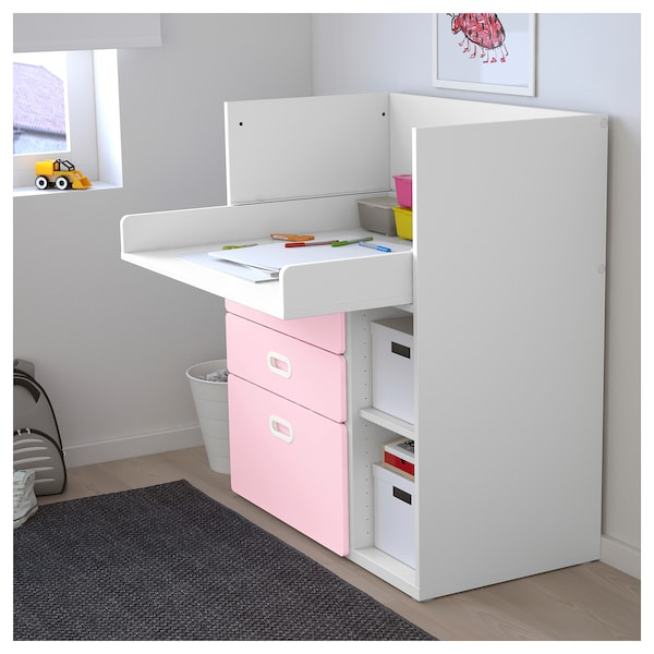 fc8ab144c412 STUVA / FRITIDS Changing table with drawers - white, light pink - IKEA