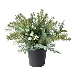 FEJKA artificial potted plant, in/outdoor, arrangement white