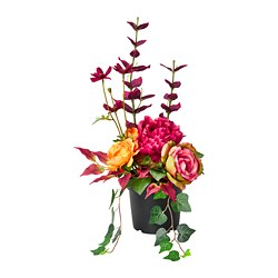 FEJKA artificial potted plant, arrangement dark red