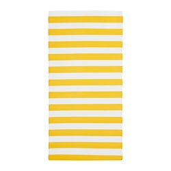 SOMMAR 2019 rug, flatwoven, yellow/white in/outdoor, yellow/white