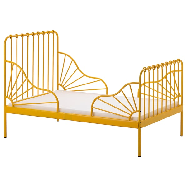 Ext Bed Frame With Slatted Base Minnen Dark Yellow