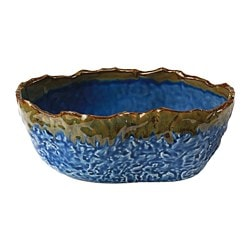 ANNANSTANS bowl, handmade dark blue, green