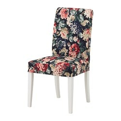 HENRIKSDAL chair with cover, white, Lingbo multicolour 1