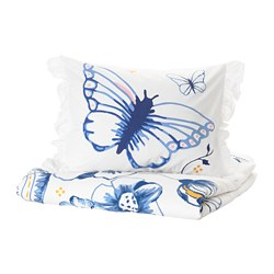 SÅNGLÄRKA quilt cover and pillowcase, butterfly, white blue