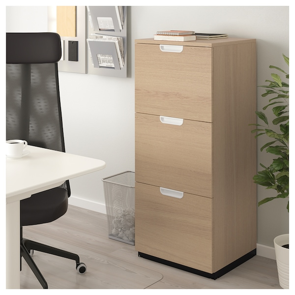 File Cabinet Galant White Stained Oak Veneer