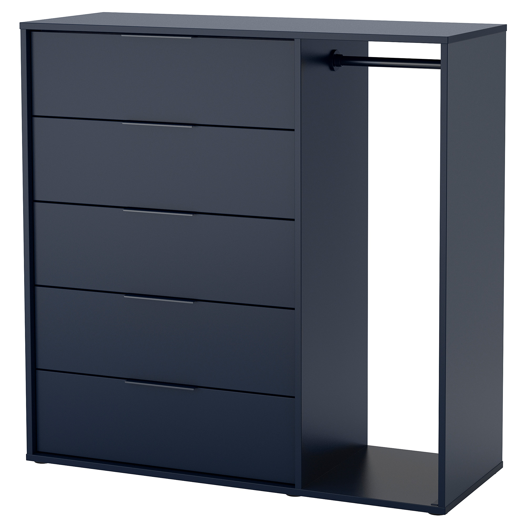 Chest Of Drawers.Chest Of Drawers With Clothes Rail Nordmela Black Blue