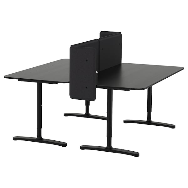 bekant schreibtisch mit abschirmung schwarz gebeiztes eschenfurnier schwarz ikea. Black Bedroom Furniture Sets. Home Design Ideas
