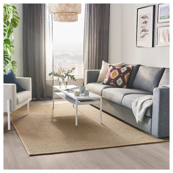 hellested rug flatwoven  natural brown  ikea