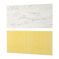 LYSEKIL wall panel, double sided white marble effect, patterned