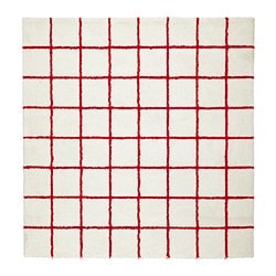 SIMESTED rug, high pile, white, red