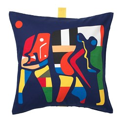 ÖVERALLT cushion cover, blue, multicolor